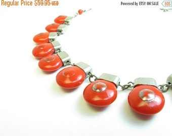 ON SALE Vintage Art Deco Red Glass Necklace