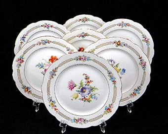 7 Antique Dresden China Hand Painted Plates Donath French Porcelain