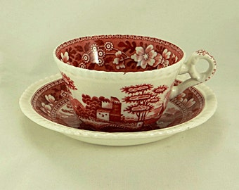 Copeland Spode Tower Pink Cup and Saucer Red Transferware