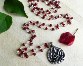 Saraswati Pendant Necklace, Garnet Rosary Necklace, Garnet Wire Wrap Bead Necklace with Saraswati Buddha Pendant, February Birthstone