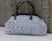 Luxury Large Vintage Style Carpet Handbag in Plush Soft Grey Fluffy Fabric with Rose Like Embossing