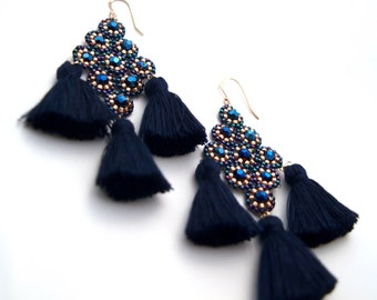 Navy Blue Tassel Earrings Boho Style Beaded  Summer Fashion Jewelry Gifts for Women Dark Blue and  Rose Gold Seed Beads Gift for Women