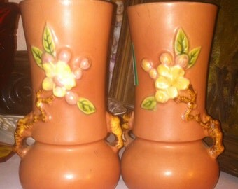 """Roseville pottery vases matching perfect #381 6"""""""