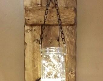 Rustic Decor ,Candle holders,  Mason jars , Hanging lanterns,  Rustic Decor, Mason Jar  Firefly lights, jar lights Rustic sconces