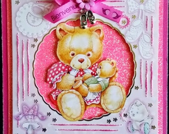 embroidered card, mother and baby bear, little girl
