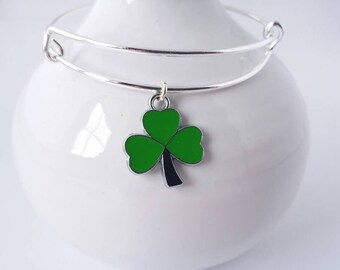 Green enamel shamrock charm bangle bracelet