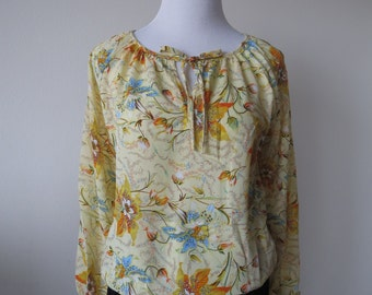Floral Chiffon Blouse Loose Style One Size Light Yellow Color