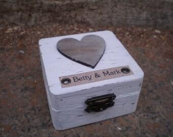Personalized Rustic Ring Bearer Box-White Wooden ring box- Wooden Engagement Ring Box-Proposal ring box