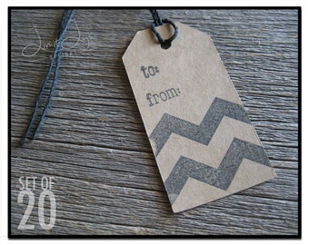 Chevron Gift Tag - set of 20