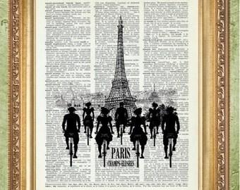 Eiffel Tower Print French Art Print Paris Art Wall Decor Eiffel Tower and Bicycles Wall Art Decor