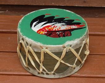 Toy Drum, Vintage Toy Drum, American Indian Toy Drum