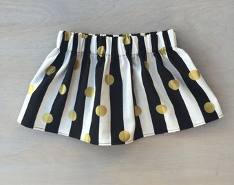Black White & Gold Skirt, Baby Skirt, Toddler Skirt, Monochrome with Gold Skirt, Little Girls Skirt, Baby Girl Skirt, Black, White, Gold