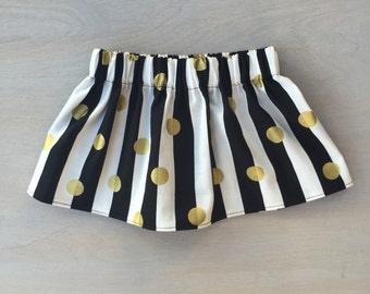 Black White & Gold Skirt, Baby Skirt, Toddler Skirt, Monochrome with Gold Skirt, Little Girls Skirt, Baby Girl Skirt, Black, White, Gold