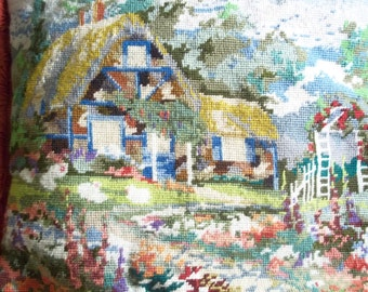 Completed Needlepoint Pillow - Cottage and Flower Garden