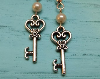Key and Pearl Dangle Drop Hanging Earrings