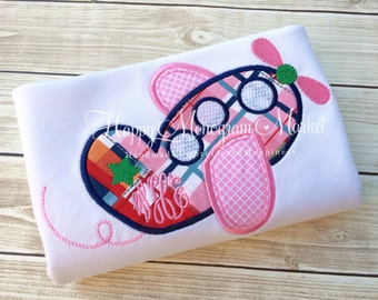 Girls airplane applique shirt monogrammed navy pink plaid t-shirt bodysuit girly pilot