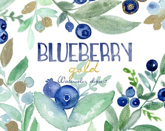 Blueberry gold watercolor clipart hand drawn. forest berry watercolor light green blue berry tender green branches, wreaths and arrangements