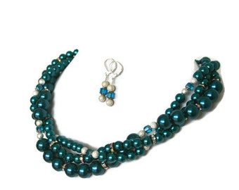 Tahitian Blue Bridal Jewelry - Bridesmaid Gift - Pearl Necklace - Wedding Jewelry - Something Blue - Bridesmaid Jewelry - Bridal Jewelry