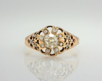 Edwardian 1.52 Ct champagne diamond solitaire flower cluster ring