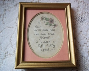 Vintage 1984 Friendship Poem Gold Frame Soft Mauve Matte Border Standing Frame/Wall Decor Perfect Gifting