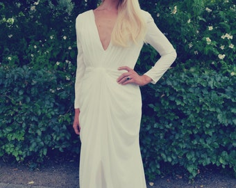Custom made 'Helena' plunging deep v long sleeve backless simple classic wedding formal bridal dress