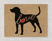 Catahoula Cur (Leopard Dog) - Burlap or Canvas / Art Print for Dog Lovers: Can be Personalized (Ships Free) Script Font Option