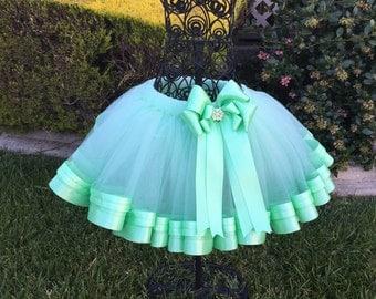 Mint Ribbon Tutu, Sewn Ribbon Trimmed TuTu, Tutu For Girls Party/Birthday, Tutu Skirt
