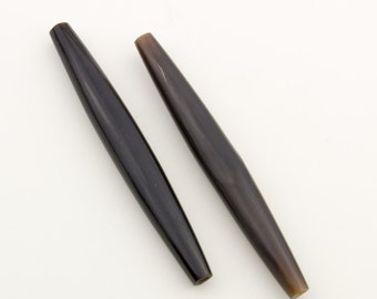Vintage Long Black Horn Beads 75x10mm 2pcs for Jewelry and Crafts 10208001