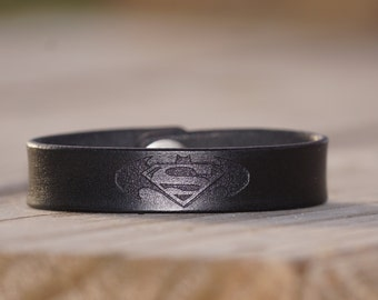 Batman bracelet~superman bracelet~ superman~Batman~comic books~leather bracelet~engraved leather~geek~Custom leather~personalized jewelry