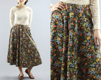 High Waisted Colorful Floral Circle Maxi Skirt ByWomen's Small 60's Vintage