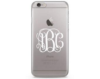 White Monogram iPhone Case, iPhone SE case, iPhone 6s Case, iPhone 6s Plus case, iPhone 7 case, Clear Phone Case