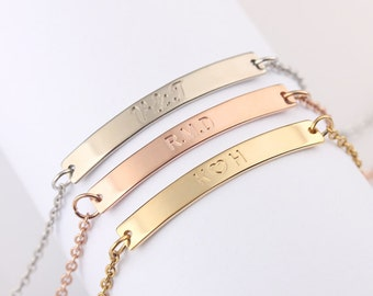 Personalized Nameplate Bracelet, Rose Gold Filled Bar Bracelet, Gold Filled Bar Bracelet, Sterling Silver Bar Bracelet, Gift for Her