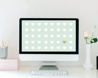 Mint + Gold Hearts Desktop Wallpaper