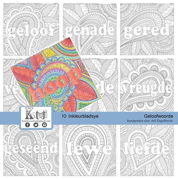 AFRIKAANS Coloring Pages For Adults Faith Words Theme In