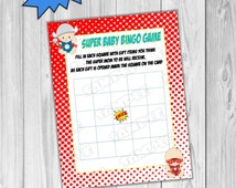 Superhero Baby shower superhero game bingo baby game Printable INSTANT DOWNLOAD  UPrint  by greenmelonstudios superhero baby shower