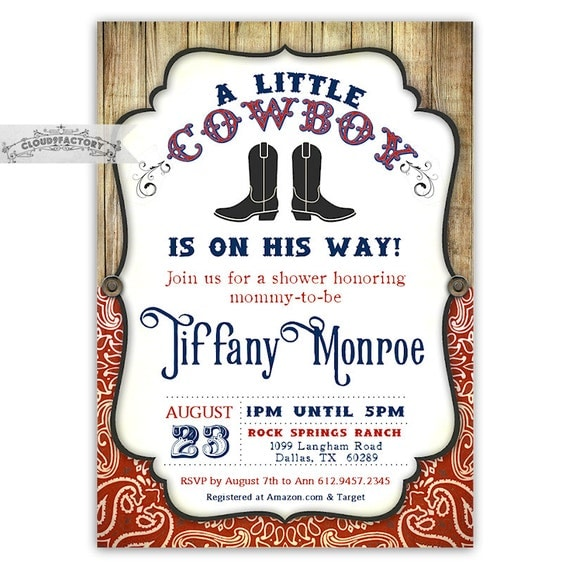 Baby Shower Cowboy Theme: Cowboy Baby Shower Invitations Little Cowboy On His Way Red