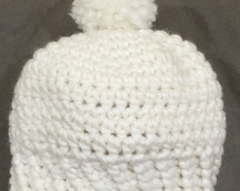 Crochet toddler hat in cream