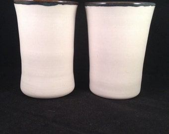 Two large porcelain tumbler set