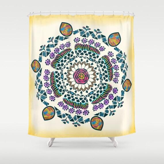 Rustic Shower Curtain Mandala Shower Curtain Boho By Famenxt