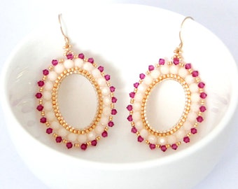 Swarovski Hoop Earrings / Beaded Hoop / Beaded hoop earrings / Hoop Earrings