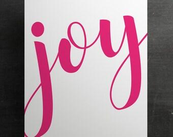 JOY printable wall art - pink, 8x10, typography print, script, calligraphy
