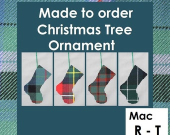 Mini tartan stocking in clan tartans like Macrae, MacTaggart, MacTavish, MacThomas