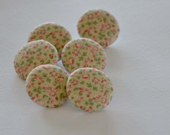 Fabric Buttons, Small Flower Fabric Covered Buttons