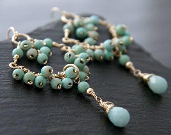 Turquoise Earrings, Amazonite Earrings, Gold Chandelier Earrings, Gold fill, Wire Wrapped, Cluster Earrings, Fringe Earrings, Wedding, Boho