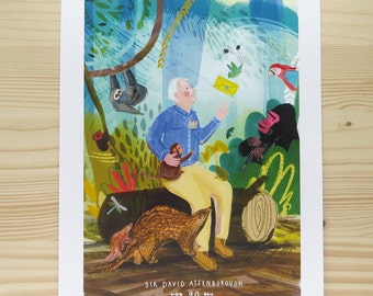 Sir David Attenborough A4 Limited Edition Print - 90th birthday wildlife party - colourful jungle