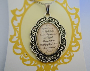Harry Potter (inspired), Sorting Hat song, Hufflepuff cameo necklace