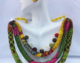 Multi Strand Ankara Statement Neckpiece with Beads (Green & Yellow)