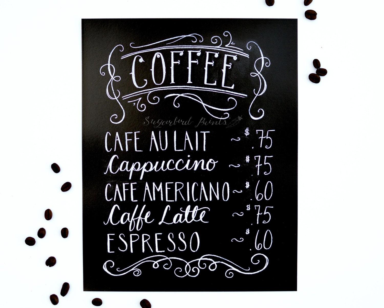 Coffee Print Coffee Menu Chalkboard Sign Chalk Art Coffee Lover Kitchen