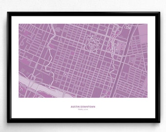 Austin Downtown - Texas Map Poster Art Monochromatic Color