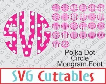 Circle Monogram Polka Dot Font, SVG, DXF, Circle Alphabet Vector, Digital Cut File